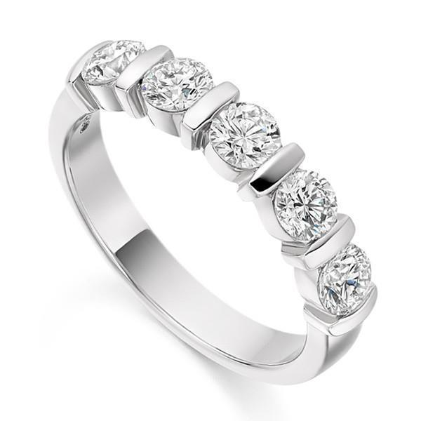 Round Cut Five Stone Diamond Band Ring Solid White Gold 14K 3.5 Ct Band