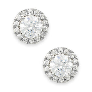 Round Cut Halo 3.40 Ct Diamonds Women Studs Earring Gold White 14K Halo Stud Earrings