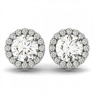 Round Cut Halo Diamond Women Stud Earring 3.30 Ct Solid White Gold Halo Stud Earrings
