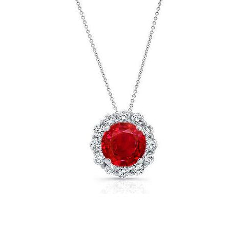 Round Cut Red Ruby With Halo Diamond Necklace Pendant White Gold 14K Gemstone Pendant