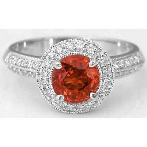Round Cut Red Sapphire Diamond Ring White Gold Jewelry 1.5 Carats Gemstone Ring