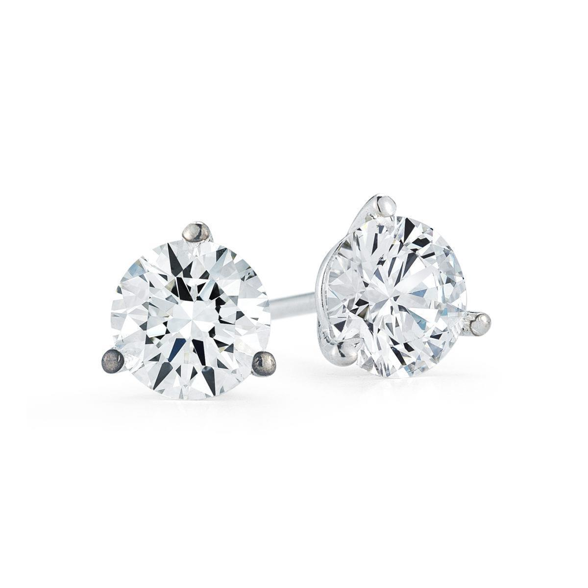 Round Cut Solitaire Diamond Stud Earring White Gold 14K 1.10 Carats Stud Earrings