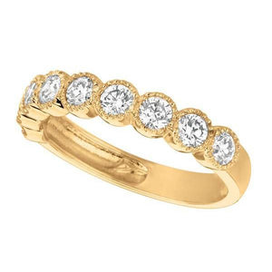 Round Diamond 1.01 Carat Bernish Setting  Ring  Eternity Band Yellow Gold 14K Sparkling Ring
