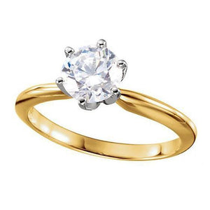 Round Diamond 1.01 Ct. D Vvs2 6 Prong Set Ring White And Yellow Gold Ideal Cut Ring
