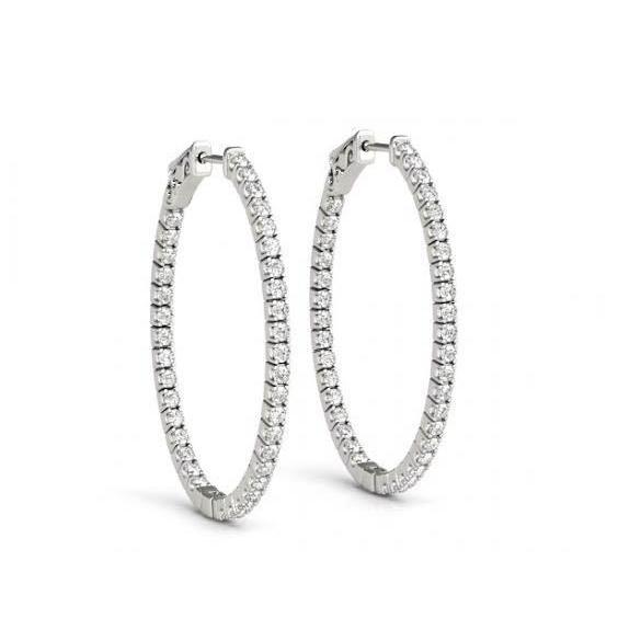 Round Diamond 1.60 Carat White Gold Hoop Earrings Lady Earring New Hoop Earrings