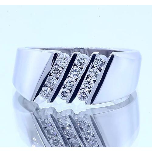 Round Diamond Anniversary Band Thick Shank White Gold 14K 1.20 Carats Band