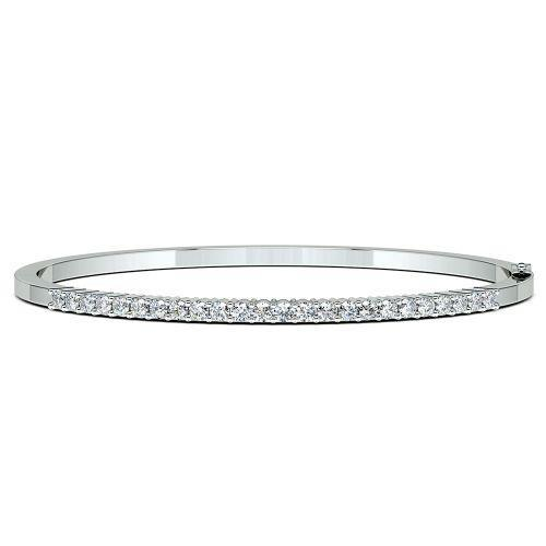 Round Diamond Bangle Bracelet 14K White Gold Bangle