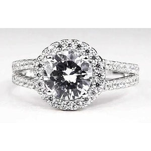 Round Diamond Halo Setting Engagement Ring Split Shank White Gold 14K Halo Ring
