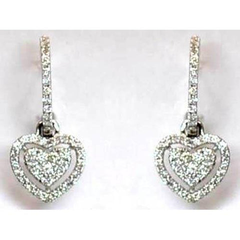 Round Diamond Ladies Drop Earring White Gold 14K 4.50 Carats Dangle Earrings