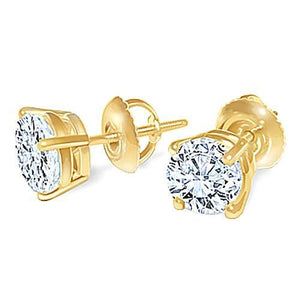 Round Diamond Stud Earring Pair 1.80 Carats Yellow Gold 14K Studs Stud Earrings