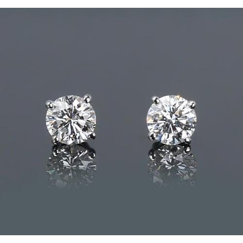 Round Diamond Stud Earrings 1.50 Carats Prong Style White Gold 14K Stud Earrings