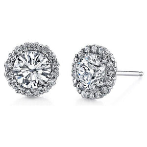 Round Diamond Stud Halo Earring 4.90 Carats Women Jewelry 14K White Gold Halo Stud Earrings