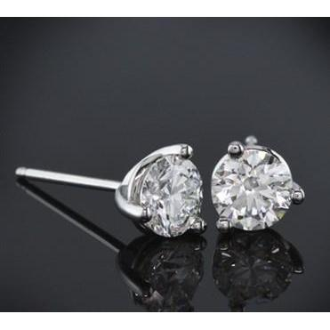 Round Diamond Studs Earring 1.30 Carats White Gold 14K Stud Earrings