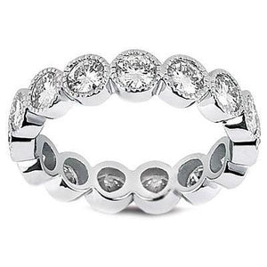 Round Diamond Wedding Eternity Band 14K White Gold 2.4 Ct Eternity Band