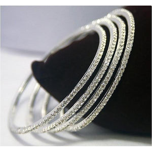 Round Diamond White Gold 14K Women Bangle Fine Jewelry 2 Carats Bangle