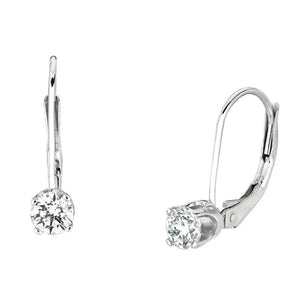 Round Diamonds  0.50 Carats Leverback Earring Pair White Gold Earrings Leverback Earrings