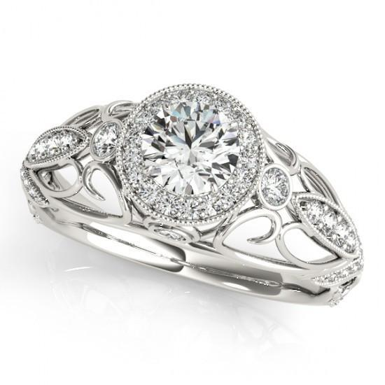 Round Diamonds 1.10 Carats Engagement Anniversary Fancy Ring White Gold 14K Anniversary Ring