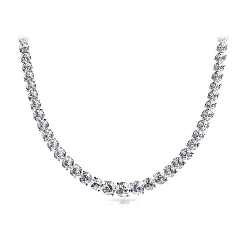 Round Diamonds 13 Carats Women Tennis Necklace White Gold 14K Necklace