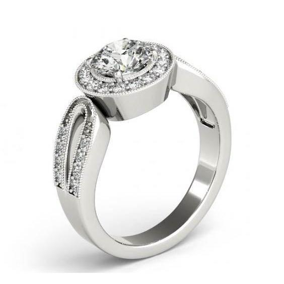 Round Diamonds 1.35 Carats Engagement Anniversary Halo Ring White Gold 14K Halo Ring