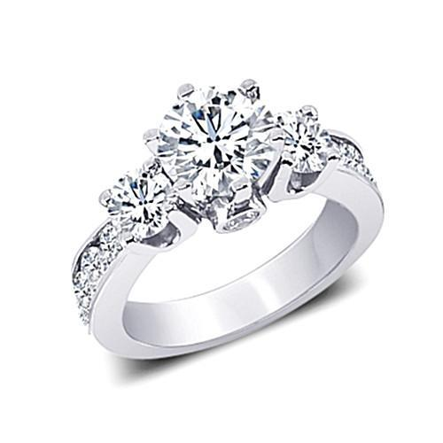 Round Diamonds 3.11 Carat Fancy Three Stone Ring Jewelry White Gold 14K Three Stone Ring