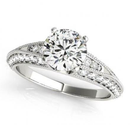 Round Diamonds Engagement Solitaire Ring With Accents 2.25 Carats Solid White Gold 14K Solitaire Ring with Accents