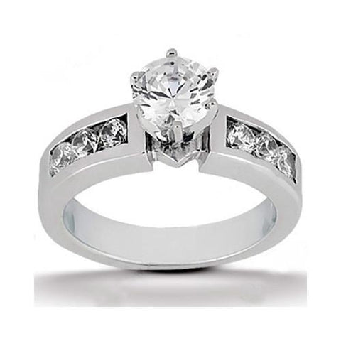Round Diamonds G Si1 White Gold Engagement Women Ring 1.61 Ct. Solitaire With Accents Solitaire Ring with Accents