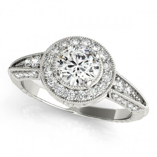 Round Diamonds Halo 1.75 Carats Engagement Anniversary Ring White Gold 14K Halo Ring