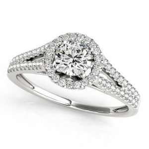 Round Diamonds Sparkling 1.50 Carats With Engagement Halo Ring White Gold 14K Halo Ring