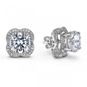 Round Halo Diamond Stud Earring White Gold Lady Jewelry 2.90 Carats Halo Stud Earrings