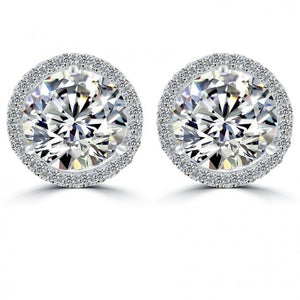 Round Halo Diamond Stud Post Earring 7 Carats White Gold Diamonds Halo Stud Earrings