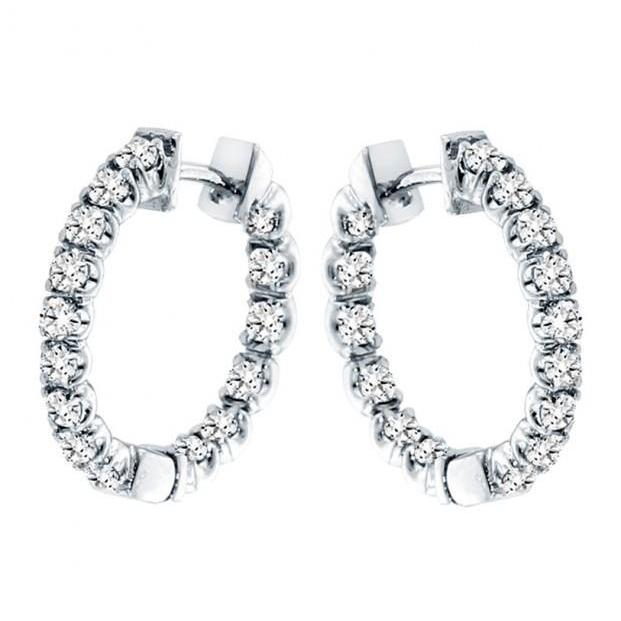 Round Prong Set Diamond Hoop Ladies Earring White Gold 14K 3.60 Ct Hoop Earrings