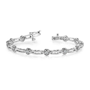 Round Prong Setting Diamond Ladies Bracelet Solid Gold Jewelry 3.30Ct Tennis Bracelet