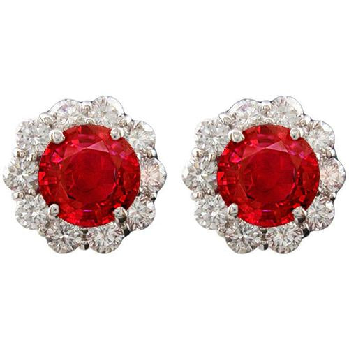 Round Red Ruby Diamond Stud Halo Women Earring White Gold 3.5 Carats 14K Gemstone Earring