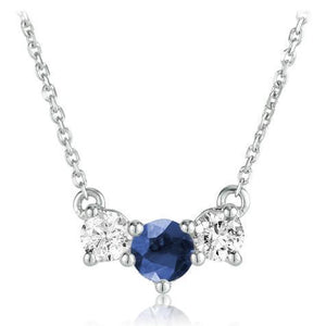 Round Sapphire Pendant With Diamond White Gold Jewelry 1.50 Carats Gemstone Pendant