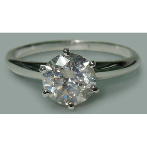 Round Shape Diamond Ladies Ring 1.57 Ct. 6-Prong Set White Gold 10K Ring