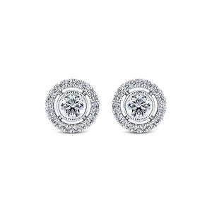 Round Shaped Diamond Stud Halo Earring 1.5 Carats White Gold 14K Halo Stud Earrings