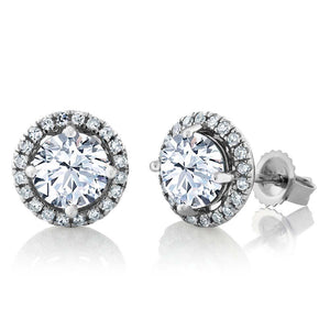 Round Shaped Halo Diamond Stud Earring 2.10 Carats Women White Gold 14K Halo Stud Earrings