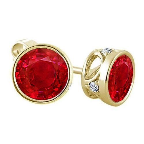 Round Shaped Red Ruby With Diamond Women Stud Earring 14K Gold Gemstone Earring