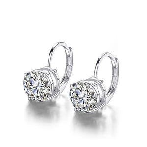 Round Shaped Solitaire Diamond 2 Carats Beautiful Leverback Earring White Gold 14K Leverback Earrings