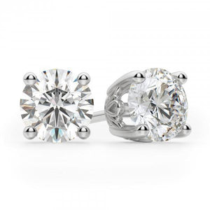 Round Stud Diamond Earring 3.10 Ct. White Solid Gold 14K Prong Set Stud Earrings