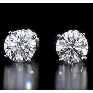 Round Stud Diamond Earring 4.50 Carats White Gold 14K Vs1 F Stud Earrings