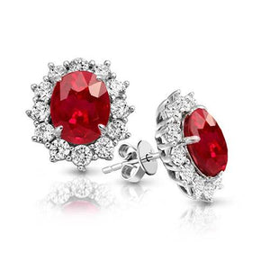 Ruby And Diamond 7 Carats Red Stud Halo Earring White Gold Jewelry Gemstone Earring