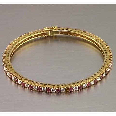 Ruby And Diamond Tennis Bangle Prong Set 3.75 Carats Yellow Gold New Bangle