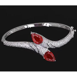 Ruby Diamond Bangle 18 Carats Women White Gold Jewelry New Bangle