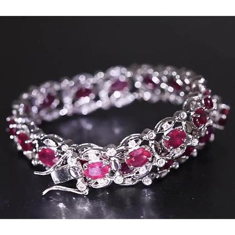 Ruby Diamond Tennis Bracelet 14.40 Carats Women Jewelry Gemstone Bracelet