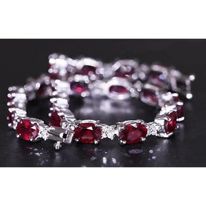 Ruby Diamond Tennis Bracelet 16 Carats Women Jewelry New Gemstone Bracelet