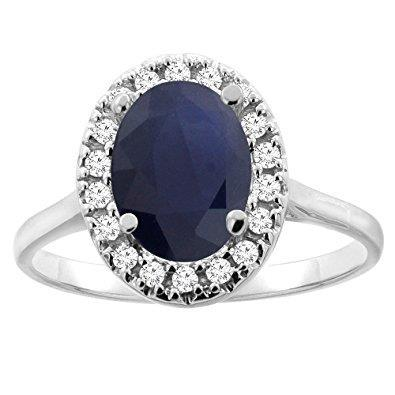 Sapphire And Diamonds 5.00 Carats Ring White Gold 14K Gemstone Ring