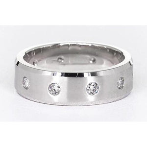 Satin Finish Anniversary Band Round Diamonds White Gold 14K Vs1 F Brushed Finish Band