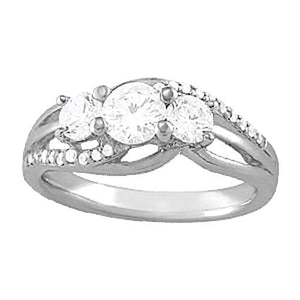 Si1-Si2 Approx. 1.1 Carat Diamond Ring White Gold 14K Ring