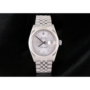 Silver Diamond Dial Rolex Datejust Men Watch Ss Jubilee Bracelet Rolex